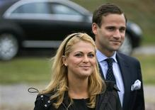 <p>Princess Madeleine of Sweden and her fiancee Jonas Bergstrom arrive to board a ship to celebrate her 27th birthday, in Stockholm in this June 1, 2009 file photo. The engagement between the princess and Bergstrom was announced on August 11, 2009. REUTERS/Janerik Henriksson/Scanpix/Files</p>