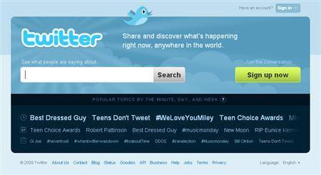 Twitter.com is seen in this screengrab from August 12, 2009. REUTERS/Twitter.com