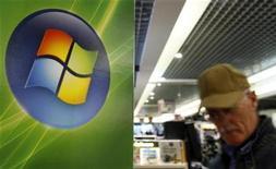 <p>Foto de archivo de un hombre frente al logo de Windows Vista de Microsoft Corp en una tienda de Bruselas, 17 sep 2007. Una corte federal de Estados Unidos determinó que el gigante tecnológico Microsoft Corp deberá pagar más de 290 millones de dólares como compensación por daños y perjuicios a la firma canadiense de software i4i Ltd, por infringir una patente. REUTERS/Sebastien Pirlet</p>