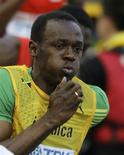<p>Jamaicano Usain Bolt se classificou com facilidade para a final dos 200m. REUTERS/Wolfgang Rattay</p>