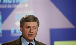 <p>Canada's Prime Minister Stephen Harper speaks at a press conference in Kitchener, Ontario, August 13, 2009 where he announced the creation of a regional development agency for Southern Ontario, part of the government's economic action plan. REUTERS/Geoff Robins</p>