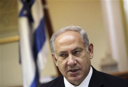 Israel's Prime Minister Benjamin Netanyahu attends the weekly cabinet meeting in Jerusalem August 23, 2009. REUTERS/Jim Hollander/Pool