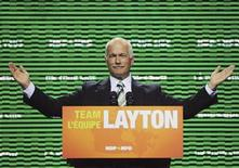 <p>New Democratic Party leader Jack Layton gives his closing remarks for the national party convention at the World Trade and Convention Centre in Halifax, Nova Scotia, August 16, 2009. REUTERS/Michael Creagen</p>