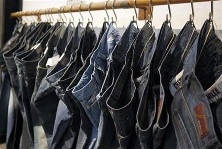 Jeans are displayed at the ''Bread & Butter'' fashion tradeshow in Barcelona January 23, 2009. REUTERS/Albert Gea