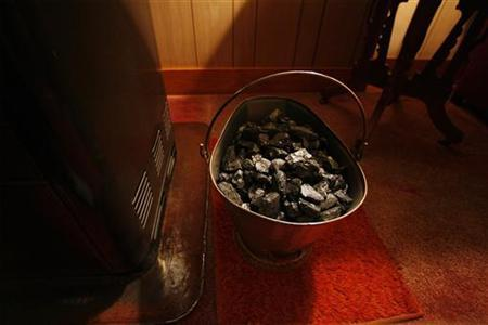 A bucket of coal used to heat the home of Centralia Mayor John Lokitis can be seen in his living room in Centralia, Pennsylvania December 18, 2007. REUTERS/Lucas Jackson