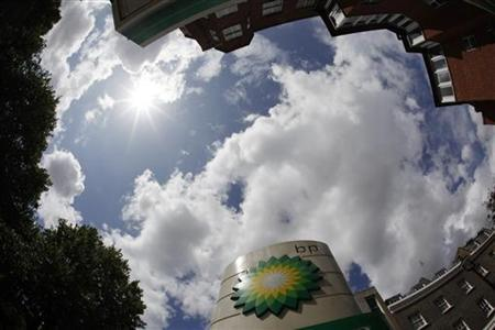 A BP logo is seen at a petrol station in central London in this July 28, 2009 file photo. REUTERS/Stefan Wermuth