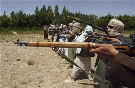 Taliban fighters train with their weapons in an undisclosed location in Afghanistan July 14, 2009. REUTERS/Stringer