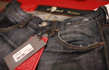 A pair of women's premium denim jeans, selling for $375.00, is pictured in a retail store in San Francisco, September 3, 2009. REUTERS/Robert Galbraith