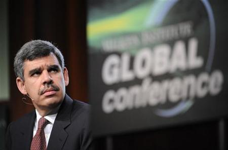 Mohamed El-Erian, CEO and Co-Chief Investment Officer, Pacific Investment Management Co., listens during the ''Financial Recovery: When and How?'' panel at the 2009 Milken Institute Global Conference in Beverly Hills, California April 27, 2009. REUTERS/Phil McCarten