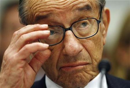 Former Chairman of the Federal Reserve Alan Greenspan testifies before the House Oversight and Government Reform Committee on Capitol Hill in Washington in this October 23, 2008 file photo. REUTERS/Kevin Lamarque