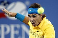 <p>Rafael Nadal nella partita contro Gael Monfils agli Open americani. REUTERS/Shaun Best</p>