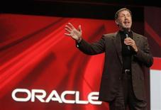 <p>Foto de arquivo do presidente da Oracle, Larry Ellison, em evento da companhia em San Francisco. A Oracle desenvolveu um computador com a Sun Microsystems, a companhia de hardware que está comprando por 7 bilhões de dólares, sob uma marca que vinha vendendo exclusivamente com a Hewlett-Packard.</p>