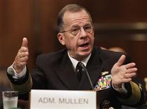 <p>Admiral Michael Mullen testifies before a Senate Armed Service Committee hearing on his nomination for reappointment to the grade of admiral and reappointment as the Chairman of the Joint Chiefs of Staff on Capitol Hill in Washington September 15, 2009. REUTERS/Yuri Gripas</p>