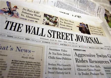 A copy of the Wall Street Journal is seen at an office in New York, July 31, 2007. REUTERS/Shannon Stapleton