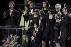 <p>Al Sharpton, Janet Jackson, Prince Michael Jackson II (AKA Blanket), Brooke Sheilds, La Toya Jackson, Paris Katherine Jackson and Ken Stacey sings at the Michael Jackson public memorial service held at Staples Center in Los Angeles, July 7, 2009. REUTERS/ Kevork Djansezian/Pool</p>