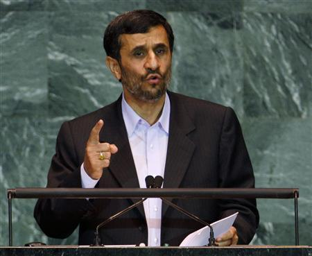 Iran's President Mahmoud Ahmadinejad addresses the 64th United Nations General Assembly at the U.N. headquarters in New York September 23, 2009. REUTERS/Mike Segar