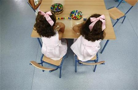 A pair of twins sit in a classroom on the first day of classes in an elementary school in the Andalusian capital of Seville, southern Spain September 10, 2009. REUTERS/Marcelo del Pozo
