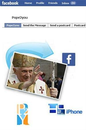 An image of Pope Benedict XVI is seen on a new official Vatican Facebook page May 22, 2009 file photo. REUTERS/Facebook