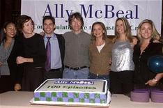 "<p>File photograph of the creator and cast of the comedy television series ""Ally McBeal"", celebrating the show's 100th episode on the set at the studios in Manhattan Beach, California, November 8, 2001. REUTERS/Fred Prouser</p>"