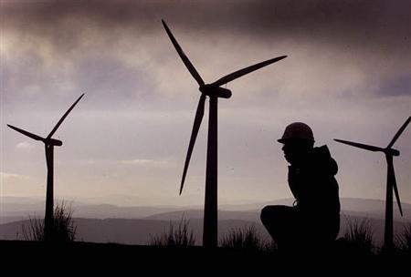 File photo shows a windfarm. REUTERS/files