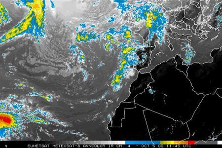 A NOAA satellite image shows storm systems over the North Atlantic October 5, 2009. REUTERS/NOAA/Handout