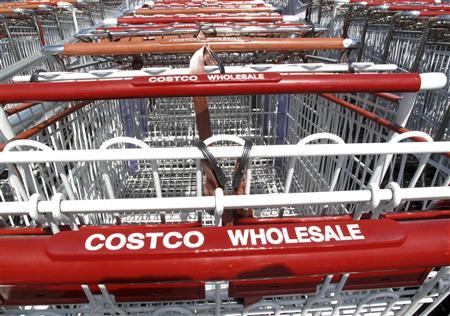 Stacks of shopping carts are lined up waiting for customers outside a Costco store in Carlsbad, California October 5, 2009. REUTERS/Mike Blake