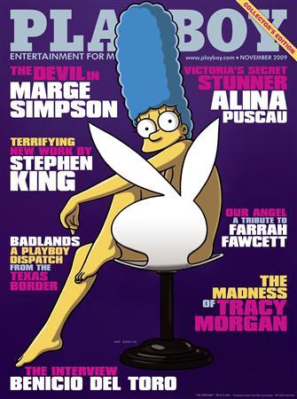 Marge Simpson is seen on the cover of the November issue of Playboy magazine in this handout released to Reuters on October 9, 2009. REUTERS/Playboy Magazine/Handout