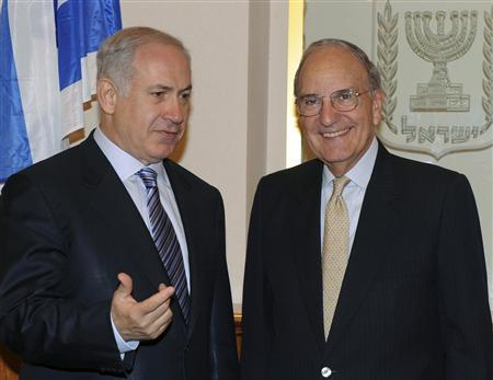 Israel's Prime Minister Benjamin Netanyahu (L) meets U.S. envoy George Mitchell in Jerusalem October 9, 2009, in this picture released by the Israeli Government Press Office (GPO). REUTERS/Moshe Milner/GPO/Handout