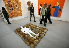 <p>An installation entitled 'The boyfriend' by Not Vital is displayed at the Frieze Art Fair in central London October 15, 2008. REUTERS/Alessia Pierdomenico</p>