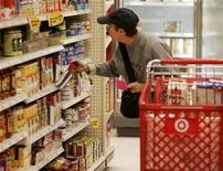 <p>A shopper looks at grocery items at a Target store in Los Angeles, California August 18, 2009. REUTERS/Fred Prouser</p>