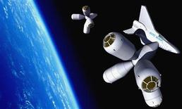 <p>An artists rendering of a shuttle docking with the Galactic Suite hotel is seen in an undated publicity photo. REUTERS/Galactic Suite/Handout</p>