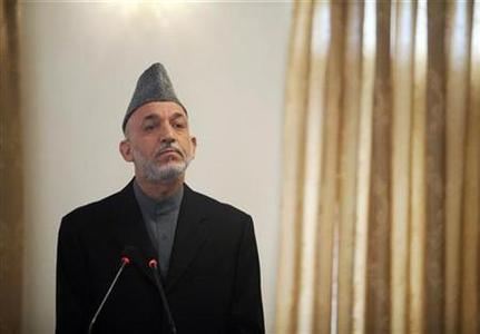 Afghan President Hamid Karzai speaks at a news conference in Kabul October 11, 2009. REUTERS/Ahmad Masood