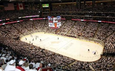 Phoenix Coyotes fans celebrate the white out against the Columbus Blue Jackets during an NHL hockey game in Glendale, Arizona, October 10, 2009. REUTERS/Rick Scuteri