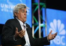 """<p>Host Jay Leno gestures during a panel for his upcoming television series """"The Jay Leno Show"""" at the Television Critics Association Cable summer press tour in Pasadena, California August 5, 2009. REUTERS/Mario Anzuoni</p>"""