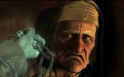 "<p>Charles Dickens character Scrooge played by Jim Carrey is shown in the new 3D animated film ""Disney's A Christmas Carol"" in this undated publicity photograph. REUTERS/ImageMovers Digital LLC/Disney/Handout</p>"
