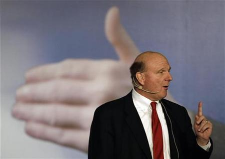Microsoft Chief Executive Steve Ballmer gives a speech during a news conference in Taipei November 4, 2009. REUTERS/Pichi Chuang
