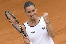 <p>La gioia di Flavia Pennetta dopo il match vincente nelle finali di Fed Cup contro l'americana Alexa Glatch. REUTERS/Tony Gentile (ITALY SPORT TENNIS)</p>
