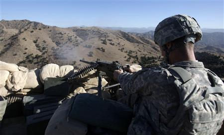 U.S. Army soldier Ryan Branklel of 3/509 infantry 4BDE25ID Task Force Geronimo fires his weapon during a training session at FOB Tillman, Afghanistan, November 11, 2009 REUTERS/Bruno Domingos