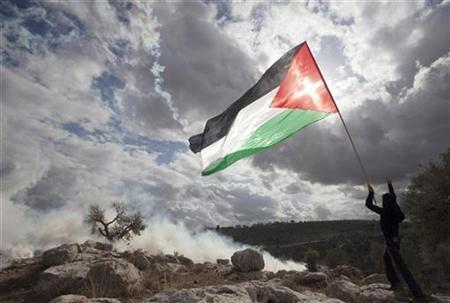 A demonstrator waves a Palestinian flag near tear gas fired by Israeli troops (not seen) during a protest against the controversial Israeli barrier in the West Bank village of Nilin near Ramallah November 13, 2009. REUTERS/Darren Whiteside