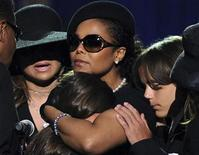 <p>Michael Jackson's son, Prince Michael Jackson I (R), leans on the shoulder of his aunt Janet Jackson, as she comforts Paris Jackson, Michael Jackson's daughter, at a memorial service for Michael Jackson in Los Angeles, July 7, 2009. REUTERS/Gabriel Bouys/Pool</p>