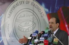 <p>Il premier dell'Iraq Nuri al Maliki incontra la stampa. REUTERS/Ahmed Malik</p>