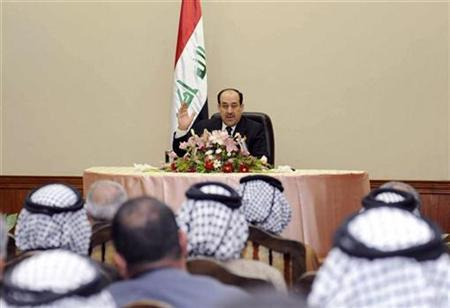 Iraq's Prime Minister Nuri al-Maliki speaks during a meeting with tribal leaders in Baghdad, November 19, 2009. REUTERS/Iraqi Government/Handout