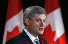 <p>Prime Minister Stephen Harper speaks during an event, to mark the 20th anniversary of the fall of the Berlin Wall, in Ottawa November 9, 2009. REUTERS/Chris Wattie</p>