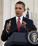 <p>Президент США Барак Обама на пресес-конференции в Белом доме в Вашингтоне 24 ноября 2009 года. Американский президент Барак Обама предложит увеличить военный контингент США в Афганистане на 30.000 человек в течение ближайших шести месяцев, сообщил Рейтер высокопоставленный чиновник президентской администрации. REUTERS/Larry Downing</p>