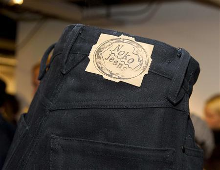 A pair of North Korean produced NoKo Jeans is pictured during the launch of the line of designer jeans at PUB department store in Stockholm December 4, 2009. Designer jeans labelled ''Made in North Korea'' will go on sale this Friday at a trendy department store in the Swedish capital, marking a first foray into Western fashion for the reclusive communist state. The jeans, marketed under the ''Noko'' brand, carry a price tag of 1,500 Swedish crowns ($215) and will share shelf space at Stockholm's PUB store with brands such as Guess and Levi's. REUTERS/SCANPIX SWEDEN