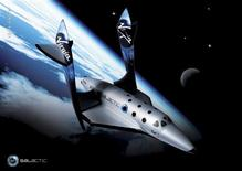 <p>Imagem digitial de divulgação mostra como seria a nave SpaceShipTwo, da Virgin Galactic, durante voo suborbital REUTERS/Cortesia Virgin Galactic/Divulgaçào</p>