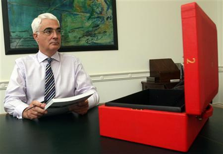 Britain's Chancellor of the Exchequer, Alistair Darling, poses with a copy of his Pre-Budget Report for photographers, in the Treasury, London December 8, 2009. REUTERS/Lewis Whyld/Pool