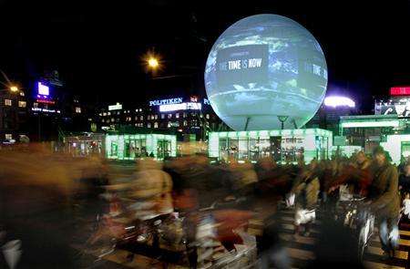 A large globe featuring an interactive display sits in a central square in Copenhagen December 8, 2009. Copenhagen is the host city for the United Nations Climate Change Conference 2009, which lasts from December 7 until December 18. REUTERS/Bob Strong