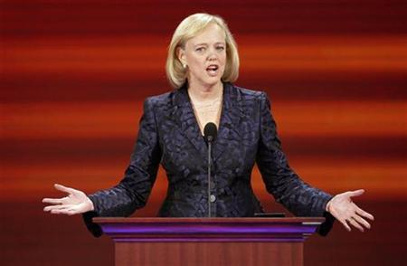 Meg Whitman, former president and CEO of eBay Inc, speaks during the third session of the 2008 Republican National Convention in St. Paul, Minnesota in this file photo taken September 3, 2008. REUTERS/Mike Segar/Files