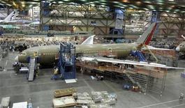 <p>Assemblaggio del Boeing 787 Dreamliner. REUTERS/Robert Sorbo</p>